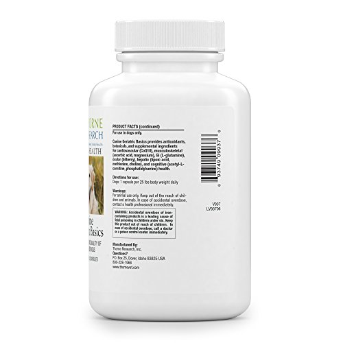 Thorne Research Veterinary - Canine Geriatric Basics - Promotes a Good Quality of Life in Older Dogs - 120 Capsules - medicalbooks.filipinodoctors.org
