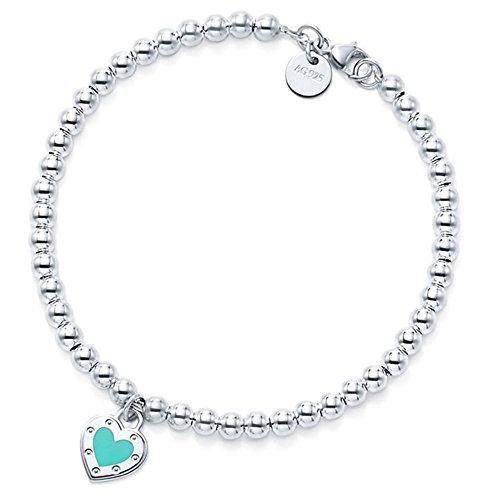 Enamel Love Heart Pendant Bracelet in Sterling (Tiffany Sterling Silver Bead)