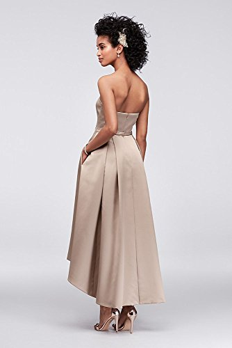 bd9d1f4e856 High-Low Satin Bridesmaid Dress with Pockets Style F19623