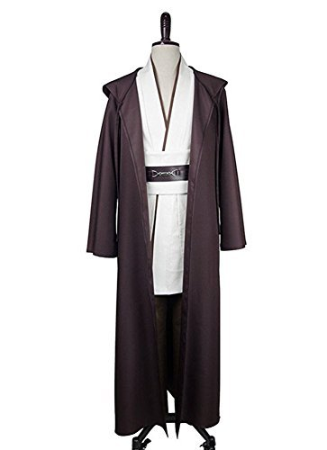 Fancycosplay Mens Cosplay Costume Set Robe Brown with White Outfit with Belt and Pocket for Halloween -