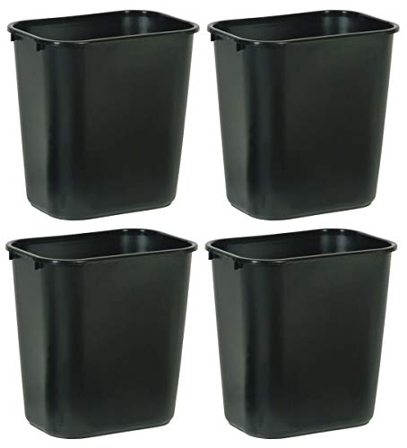 Rubbermaid Commercial Products NCVBHDGH FG295600BLA Plastic Deskside Wastebasket, 28-1/8-quart, Black, 4 Pack (Office Trash)