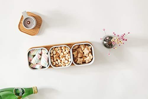 cenzen Bambus Snack Serviertablett, Lebensmittel Aufbewahrung Box Snack Schüssel Behälter Lebensmittel Aufbewahrung…