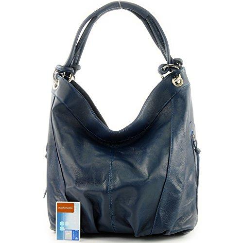 Made Italy - Bolso al hombro de cuero para mujer azul zafiro