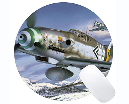 (Mousepad Anti-Slip Round Mouse Pad,Messerschmidt Bf 109 Fighter Art Aircraft Mouse Mat,Non-Slip Rubber Base Mousepad)