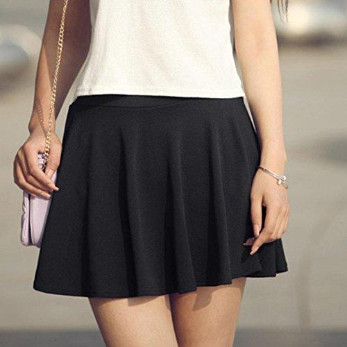 Lenfesh et plisse Haute Patineuse Taille Jupe Mini Noir Jupe vase Femme Courte Lady rCqTUrx