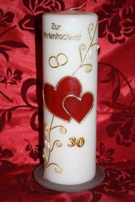 Kerze Perlenhochzeit 30 mit Namen & Datum PH-02 kerzenfreude