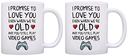 Gamer Gift Ideas for Boyfriend Girlfriend I Promise to Love You When You're Old Still Play Video Games 2 Pack Gift Coffee Mugs Tea Cups White