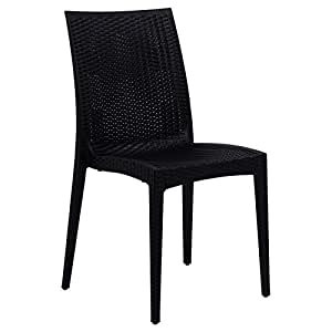 LeisureMod Weave Mace Indoor/Outdoor Black Armless Dining Chair