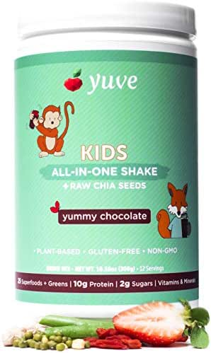 Yuve Vegan Protein Powder for Kids - Natural Superfoods, Daily Greens & Vitamins - Award Winning Taste - Complete Nutritional Shake - Plant Based, Non-GMO, Gluten, Dairy, Soy & Lactose Free -Chocolate