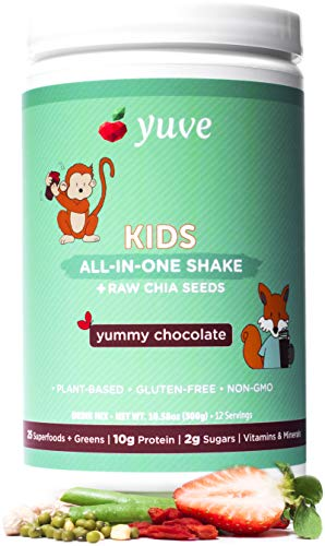 Yuve Vegan Protein Powder for Kids – Natural Superfoods, Daily Greens & Vitamins – Award Winning Taste – Complete Nutritional Shake – Plant Based, Non-GMO, Gluten, Dairy, Soy & Lactose Free -Chocolate