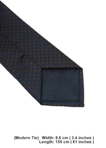 DTI DARYA TRADING 100/% Woven Mens Neck Tie Pocket Square Hand Made Tie and Hanky Set 2417-02 Regular, Blue Gold