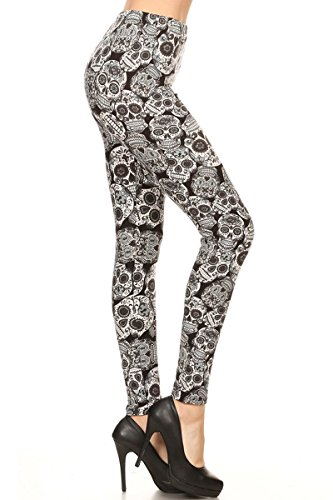 Halloween Leggings (Leggings Depot Ultra Soft Popular BEST Printed Premium Quality Leggings ONE Size and PLUS Size American Flag Batch11 (Plus Size (Size 12-24), Spanish Skulls))