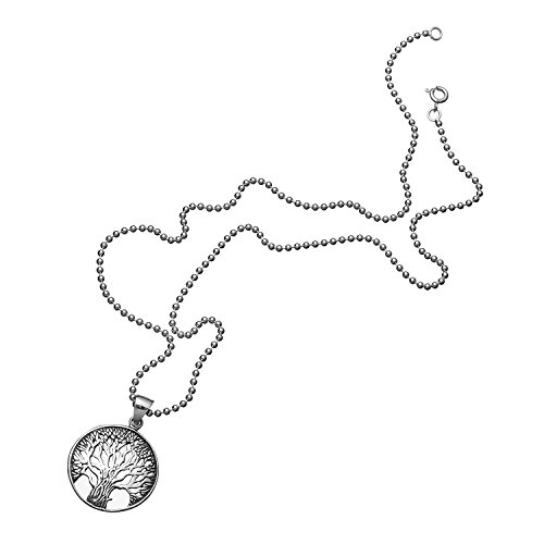 Wellme Sterling Silver Vintage Tree Pendant with 1.5mm Width 20'' Beaded Chain
