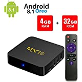 Android TV Box, MX10 Android 8.1 TV Box with RK3328 Quad Core 4GB DDR4 RAM 32GB ROM Smart TV Box Support 2.4GHz WIFI/100M LAN/3D Movies/4K Solution