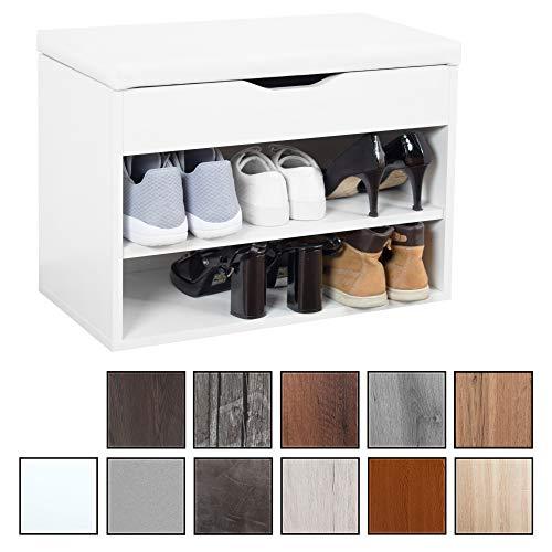 RICOO WM032-W-W, Banco Zapatero, 60x42x30cm, Armario Interior con Asiento, Organizador Zapatos, Mueble recibidor, Perchero Entrada, Madera Blanco