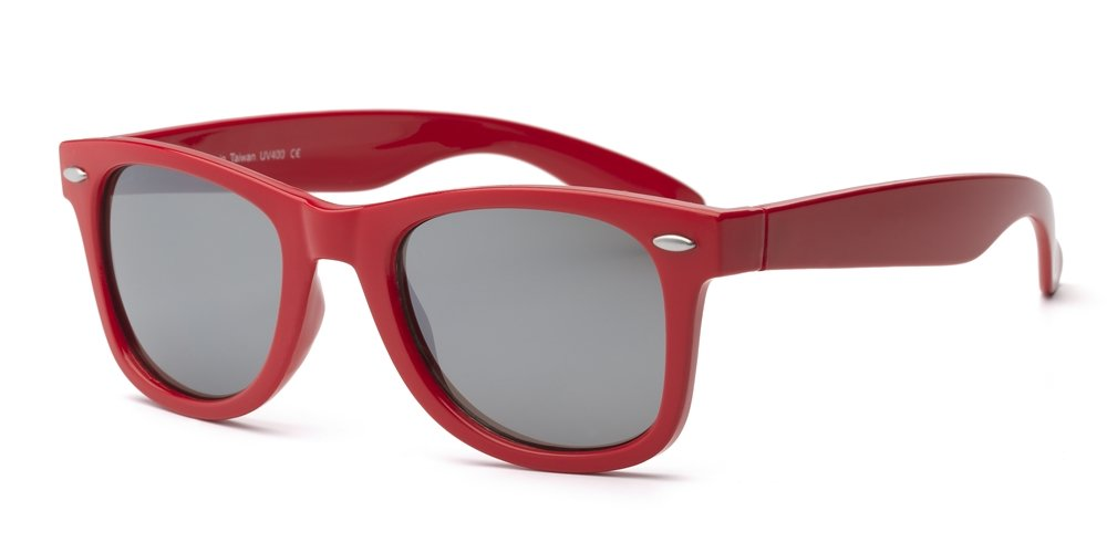 Real Kids Shades Swag Polycarbonates with Mirror Sunglasses (Lens 10 Plus, Red Wayfarer Frame/Temples/Silver) 10SWGRDRD