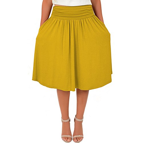 Stretch is Comfort Women's Plus Size Pocket Skirt Mustard Yellow 3X -