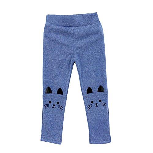 Weixinbuy Baby Kids Girl Cat Print Tight Stretch Leggings Pants - Print Wool Blend