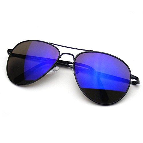 Aviator Sunglasses Mirror Lens New Men Women Fashion Frame Retro Pilot (Spring Hinge | Black, 0) (Sonnenbrille Aviator Schwarz)