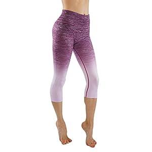 Homma Women's Premium Ombre Active Workout Cropped Yoga Leggings Running Pants (Medium, Berry+Lavender)