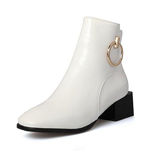 AllhqFashion Damen Quadratisch Zehe Niedriger Absatz Mikrofaser Reißverschluss Stiefel Weiß