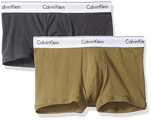 Calvin Klein Men's Modern Cotton Stretch Trunks, Dark Charcoal/Martini, S