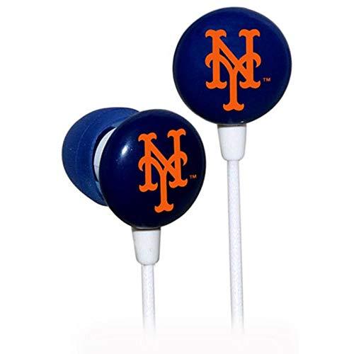 iHip MLF10169NYM MLB New York Mets Printed Ear Buds, Blue/Orange