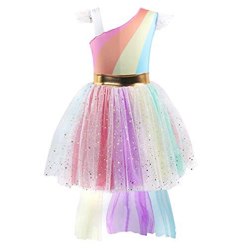 Girls Kids Unicorn Rainbow Costume Ball Gown Flower Halloween Party High Low One Shoulder Fancy Dress Up Tutus Rainbow 4-5 Years -