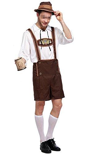 Oktoberfest Costume Bavarian Men Uniform Lederhosen Shorts with Shirt Hat X-Large (Bavarian Costume Men)