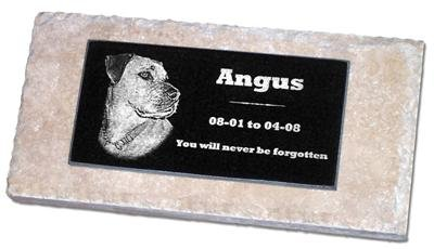 Personalized Custom Engraved Granite Pet Memorial by Eric @ StoneArtUSA / Marker Gravestone Garden Stone Monument Markers Memorials Laser Etched w/ Photo Dog Cat Horse Pets MPV