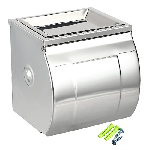 uxcell Toilet Paper Tissue Roll Holder 201 Stainless Steel K12B Glossy w Ashtray Plate by uxcell