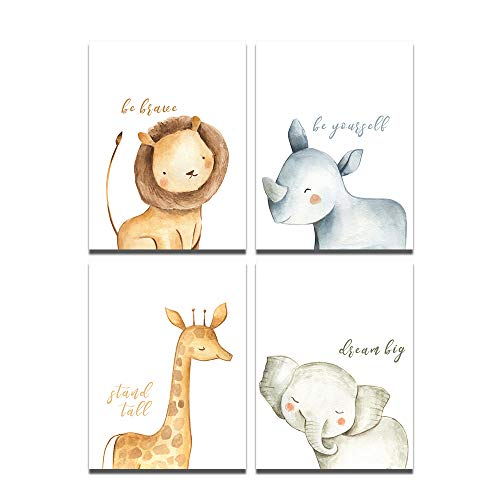 Hi-fun 4 Pieces Baby Animals Nursery Wall