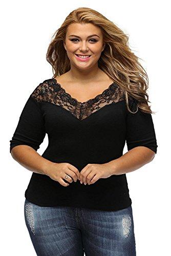 Libaoge Womens Sexy Black V Neck Off Shoulder Plus Size Lace Top Blouse Shirt