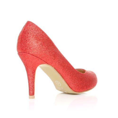Pearl Damen Pumps Stöckelschuhe Rot Glitter Glitzer Stilettos Hoher Absatz Klassische Pumps rojo - Red Glitter
