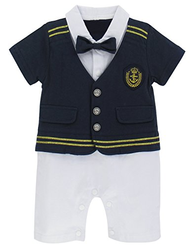 A&J Design Baby Boys' Pilot Costume Romper Outfit (12-18 Months, Blue)