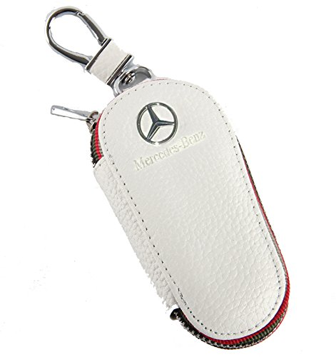 Key chain Bag white Lychee rind pattern Genuine Leather Ring Holder Case Car Auto Coin Universal Remote Smart Key cover Fob Alarm Security Zipper keychain Wallet Bag (Mercedes-Benz)