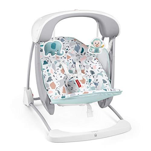 Fisher-Price Columpio- Hamaca Portátil Deluxe Plegable Con Sonidos Y Vibraciones Para Bebés 9Kg (Mattel Gpd12)
