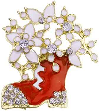 97c58783a87 Fashion Women Jewelry Gift Enamel Badge Christmas Boot Rhinestone Flower Brooch  Pin - Red
