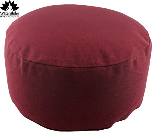 Burgundy Refillable (Waterglider International Zafu Organic Cotton Meditation Pillow: Rondo Style with Liner- 6 Colors (Burgundy, standard 12 inch))
