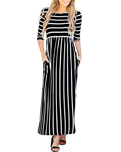 GIKING Women's Casual 3/4 Sleeve Striped Round Neck for sale  Delivered anywhere in Canada