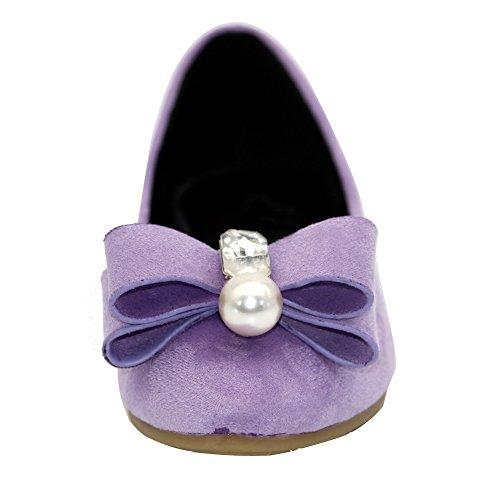 AalarDom Damen Spitz Zehe Ziehen Auf Ohne Absatz Rein Flache Schuhe Lila-Juwelen