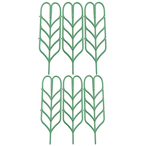 Povkeever Garden Plant Support, Y Plant Supports Trellis Leaf Shape for Potted Plant Winding Climbing DIY Garden Green (6Pcs)