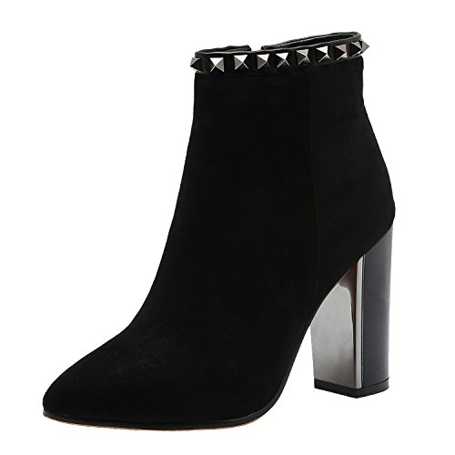Vivi Womens Suede Black Heel Pointed Ankle Boots With Rivets