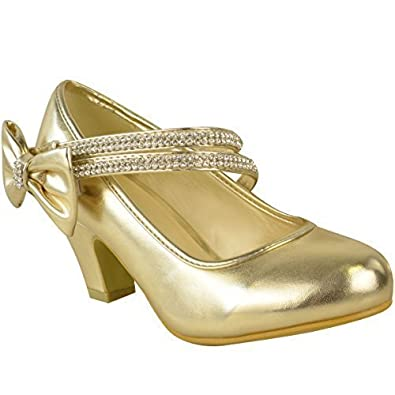 KIDS CHILDRENS GIRLS WEDDING PARTY DIAMANTE BOW LOW MID HEEL SHOES SANDALS SIZE UK 1
