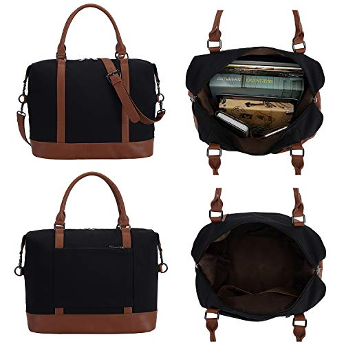 2f312ec7921 Women Ladies Canvas Weekender Bag Overnight Carry-on Tote Duffel in Trolley  Handle (Black)  Amazon.ca  Luggage   Bags