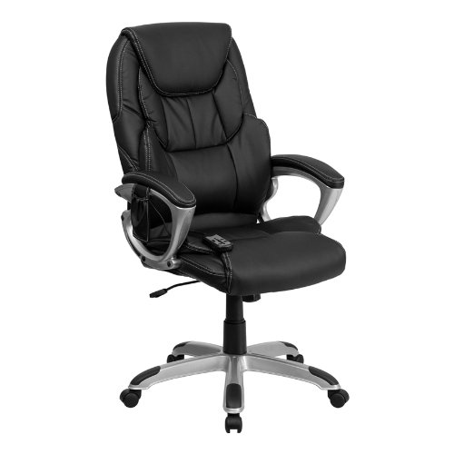Offex BT-9806HP-2-GG High Back Massaging Black Leather Executive Office Chair with Silver Base