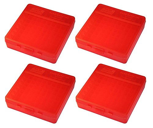 (MTM 100 Round Flip-Top 40/45/10MM Cal Ammo Box - Clear Red (4 Pack) )