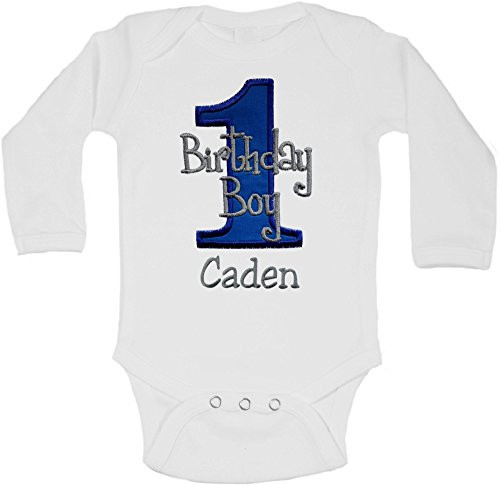 Bodysuit Birthday (Embroidered First Birthday Year 1 Onesie Bodysuit for Baby Boys with Your Custom Name (Long Sleeve 18 Months, Royal & Gray))