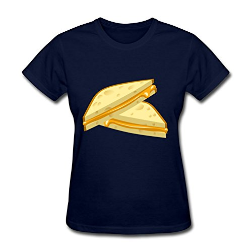 Vogue Designed Navy Women Food Grilled Cheese Short-sleeve Shirts X-small