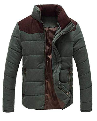 Collar Coat Chaude Jacket Winter Zipper Jacket Men's Down Coat Coat Outerwear Short Adelina Stand Jacket Dunkelgrün 6RxvfSq